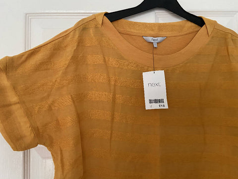 Next BNWT yellow gold stripey top, size 12