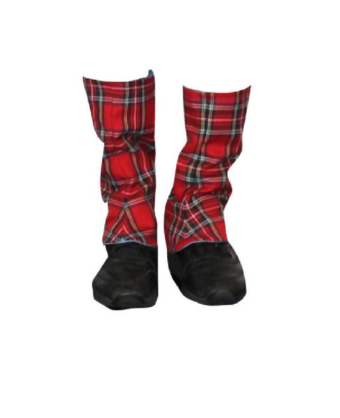 PRETTY DISTURBIA HANDMADE PUNK GRUNGE RED TARTAN GAITORS