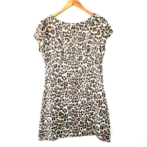 Warehouse 100% Silk Leopard Dress 12