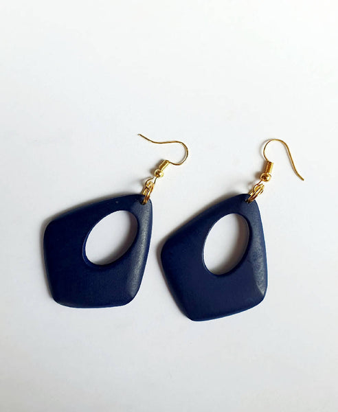 Navy Wood Drop Earrings