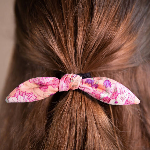 Pink Floral Patterned Hair Bow on Hair Elastic