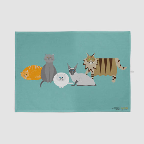 Cat Characters aqua tea towel made with 100% organic cotton