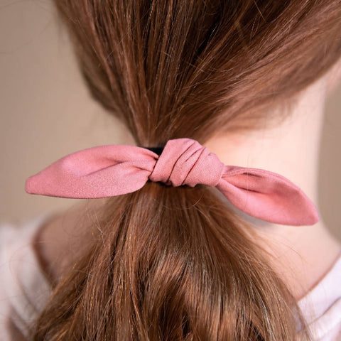 Dusky Pink Hair Bow on Hair Elastic