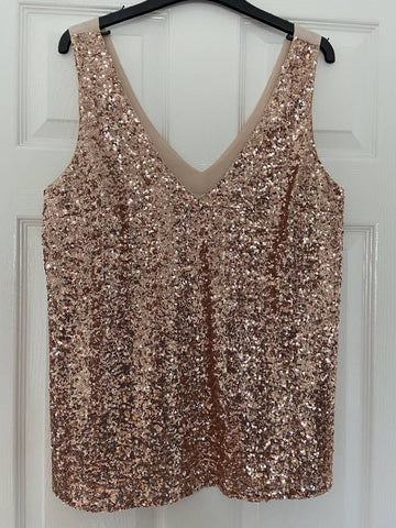 Oasis rose gold sequin vest, size 14