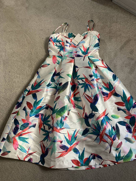 Size 10 Bandeau prom style dress white and multi BNWT