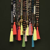 Tassel necklace with semi-precious stones