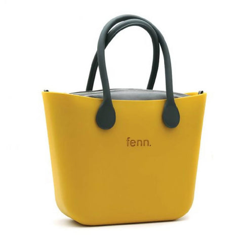 Mustard Yellow Fenn bag with charcoal canvas inner and charcoal handles