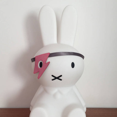 Pink felt flash style dress up eye patch on a Miffy bunny
