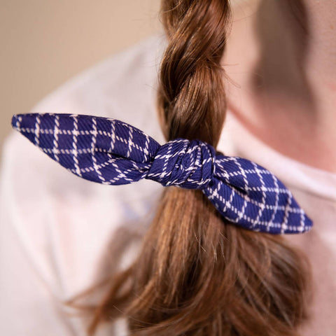 Navy Grid Patterned Hair Bow on Hair Elastic