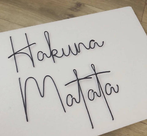 Hakuna Matata, wall mounted wire words. Three dimensional typography.