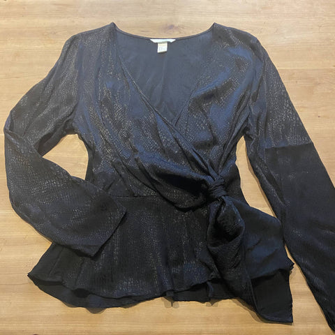 H&M black snake l-sleeve peplum wrap blouse, Euro 42 / UK 12