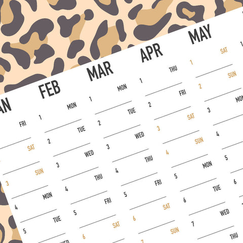 2021 Wall Planner Leopard Print | Year Planner | Monthly Planner | A2