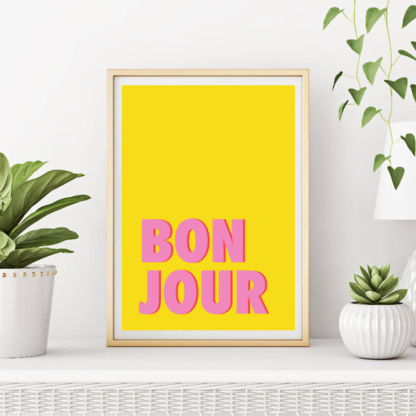 Bonjour (yellow/pink) | Home Decor - Wall Art - Typography