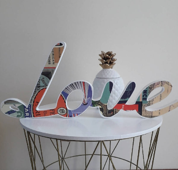 'Love'....wooden word with Parisian print