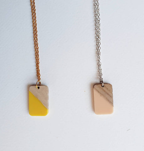 Resin and Wood Tag Pendant
