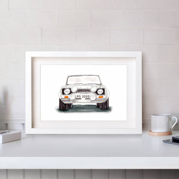 Front View of Ford Escort MK 1 Hand Drawn Watercolour/Illustration Print