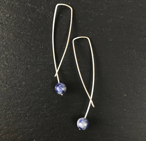 Geo Earrings - Blue Agate