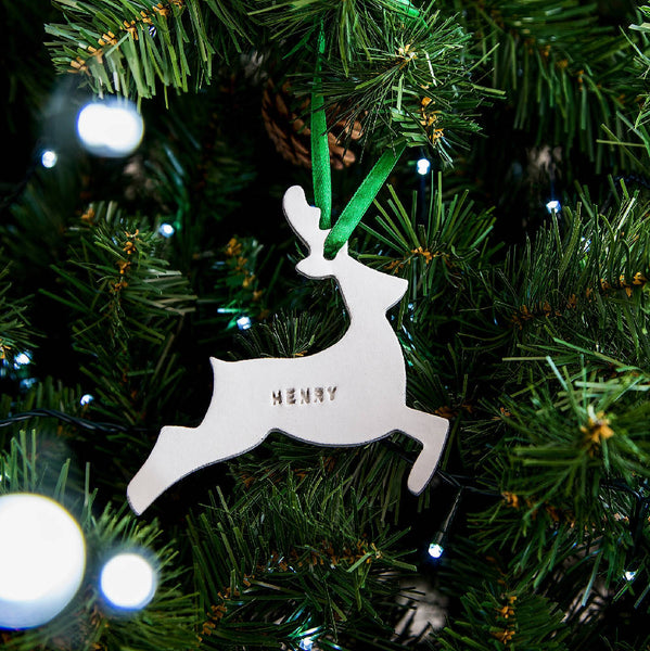 Personalised jumping reindeer Christmas decoration