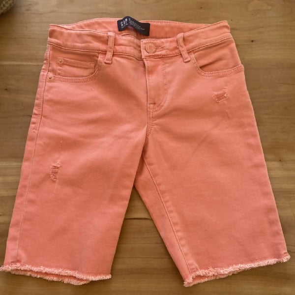 GAP girls' coral denim bermuda shorts, age 8