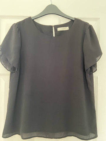 Oasis black short-sleeve blouse, size 14