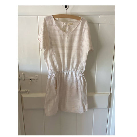 BELLEROSE LIGHT SUMMER cream dress with lurex gold thread Age 8/10