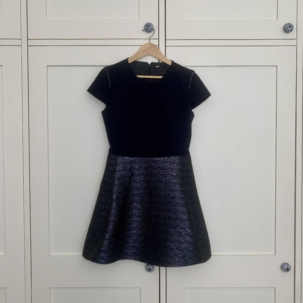 Maje - Navy Dress w/ Balloon Skirt - Size 3 (10-12)