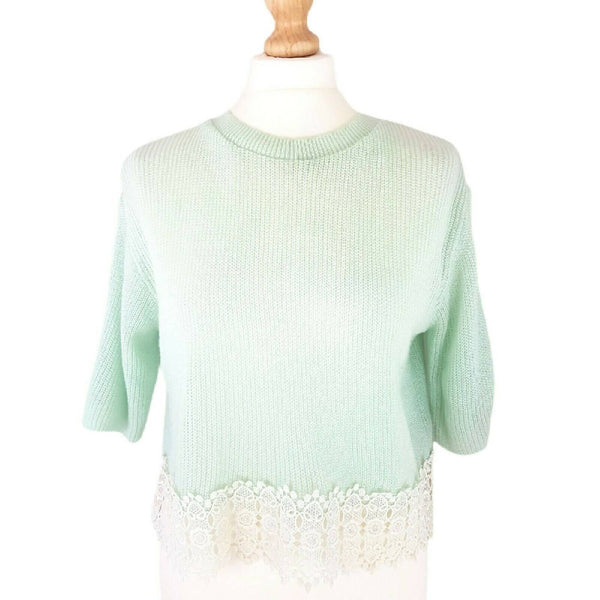 Topshop Mint Green Cropped Jumper 10