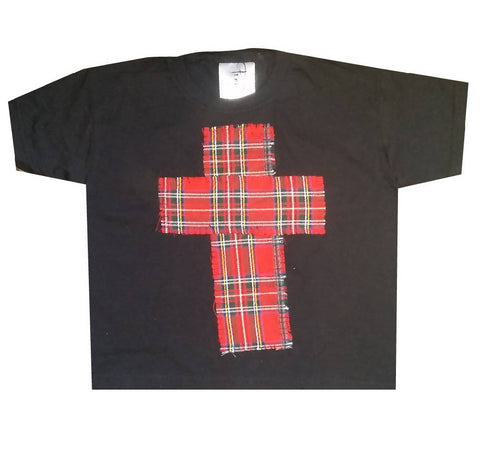 RED TARTAN CROSS CHILDREN'S BLACK T-SHIRT PUNK GRUNGE | PRETTY DISTURBIA