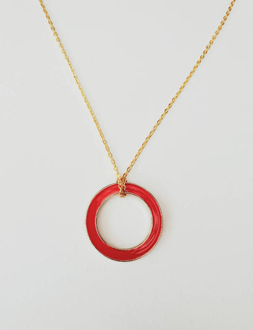 Enamel Ring Necklace