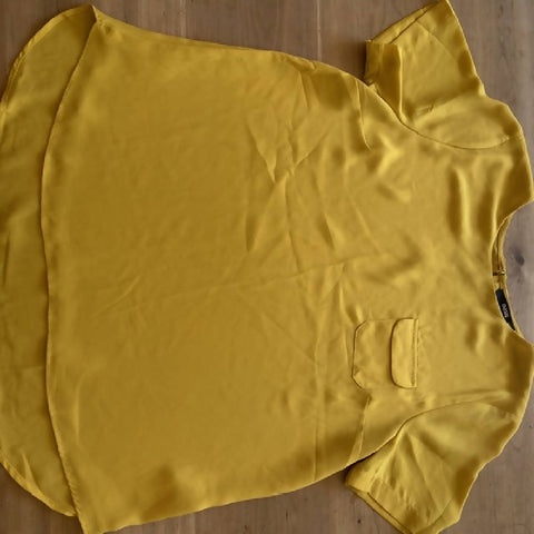 Oasis mustard yellow short-sleeved blouse, size 14