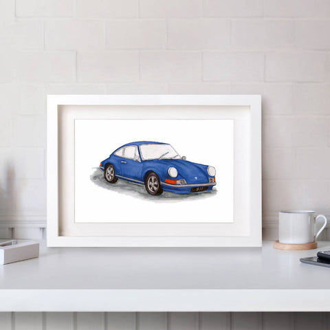 Porsche 911 Watercolour Illustration Print