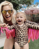 FLINGO BABY WINGS - Leopard leotard with Pink Wings
