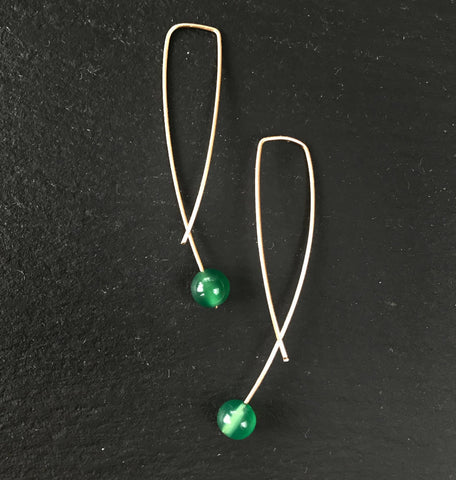 Geo Earrings - Green Agate