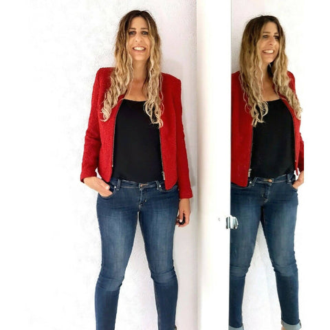 M&S Per Una Dark Red Jacket Embossed 10