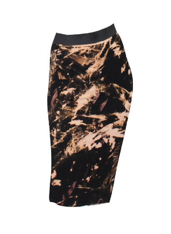 PRETTY DISTURBIA BLEACH ACID WASH PUNK GRUNGE GOTHIC STRETCH PENCIL SKIRT