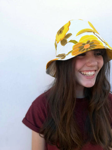 Yellow Floral 70's style medium brim bucket hat