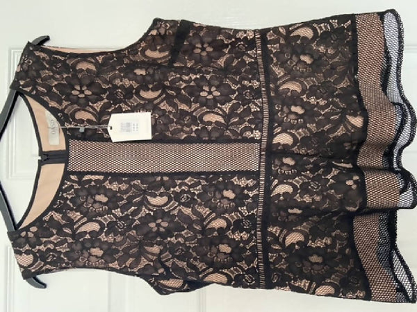 Oasis BNWT black lace sleeveless top, size 14