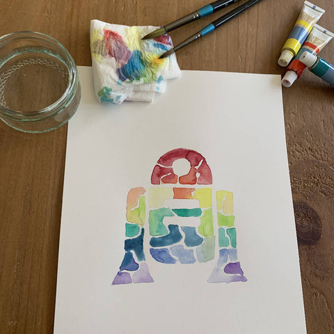 'Rainbow' R2D2 Watercolour Painting