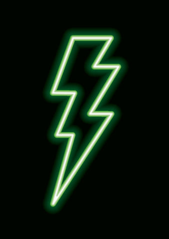 Neon Bolt Poster Prints - Home Decor - Wall Art - Kids Art