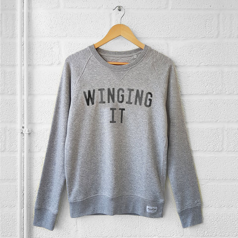 WINGING IT Sweatshirt <br>Grey/Black Selfish Mother