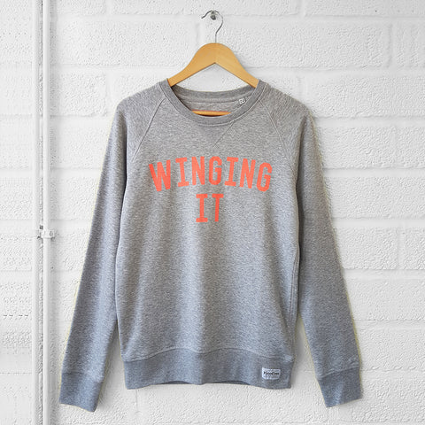 WINGING IT Sweatshirt <br>Grey/Neon Selfish Mother