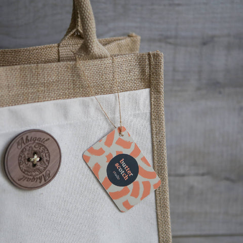 Personalised Jute Tote Shopper Hand Bag with pocket & giant button