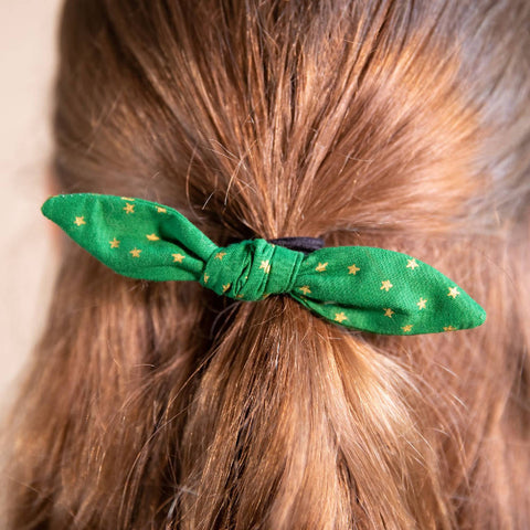 Green and Gold Star Patterned Hair Bow on Hair Elastic