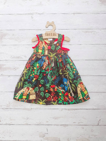 Stunning Handmade Frida Kahlo Toddler Girl's Dress Bespoke Custom