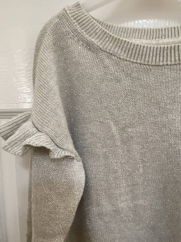 GAP girls' sparkly cream knit jumper, size M