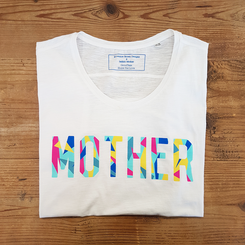 White Mother Geo Relaxed Tee <br>Brownlow Brown x SM