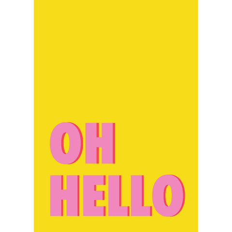 Oh Hello Art Print (yellow/pink) | Home Decor - Wall Art - Typography