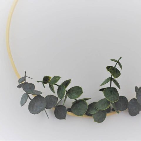 Bamboo Hoop with faux eucalyptus. Plain.