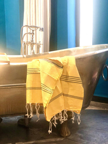 Yellow and Navy Striped Hammam Towel