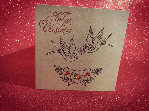 Vintage Swallows Christmas Card